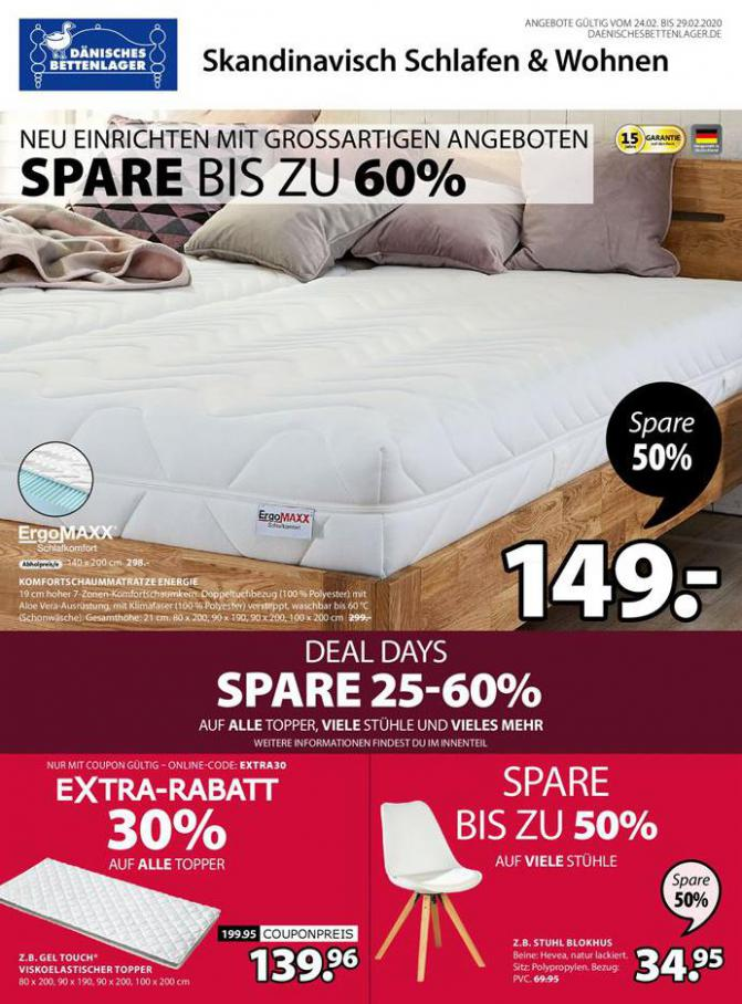 Deal days spare 25-60% . Dänisches Bettenlager (2020-02-29-2020-02-29)