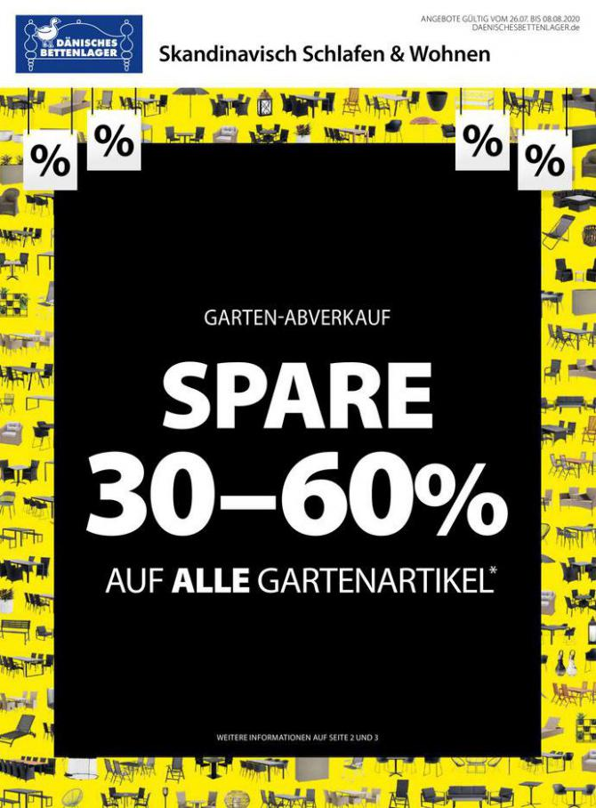 Spare 30-60% . Dänisches Bettenlager (2020-08-08-2020-08-08)