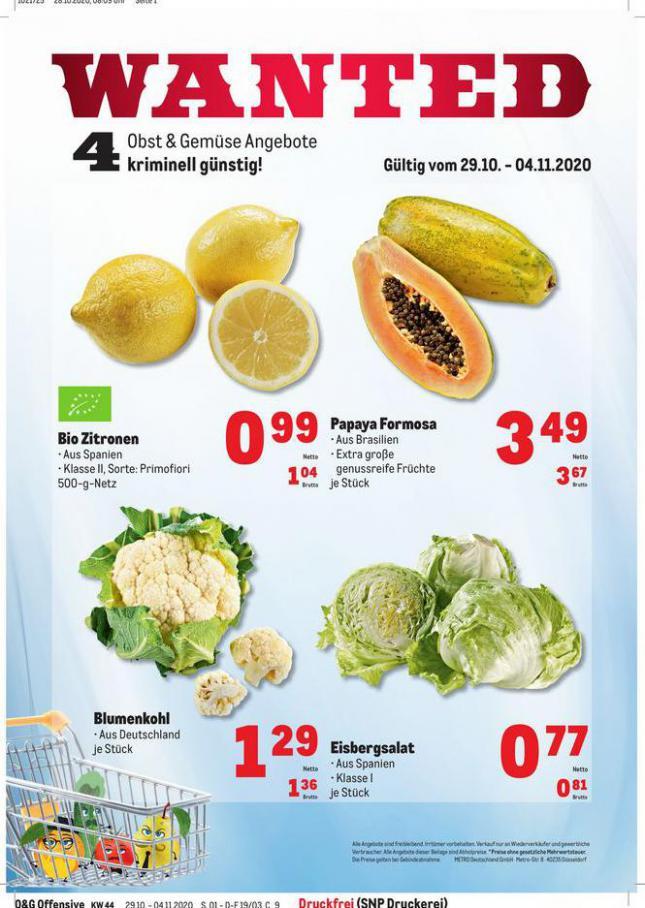 Obst & Gemüse Frischepreise . Metro (2020-11-04-2020-11-04)